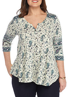Lucky Brand Plus Size Paisley Swing Top