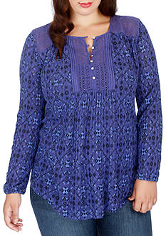 Lucky Brand Plus Size Printed Drop Needle Knit Top
