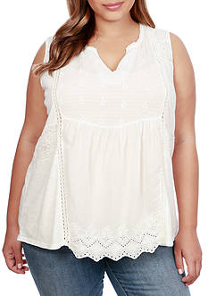 Lucky Brand Plus Sized Woven Mixed Shell