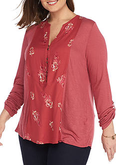 Lucky Brand Plus Size Henley Woven Top