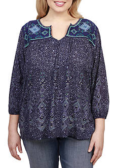 Lucky Brand Plus Size Embroidered Slit Neck Blouse