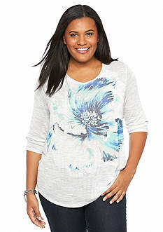 Lucky Brand Plus Size Painted Floral Tee