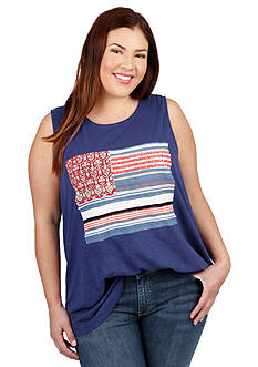 Lucky Brand Plus Size Rug Flag Tank