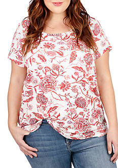 Lucky Brand Plus Size Floral Tee