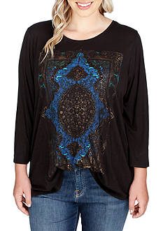 Lucky Brand Plus Size Watercolor Rug Tee