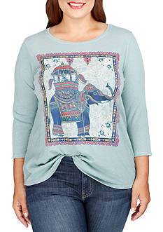 Lucky Brand Plus Size Elephant Ride Tee