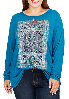 Lucky Brand Plus Size Intricate Rug Tee