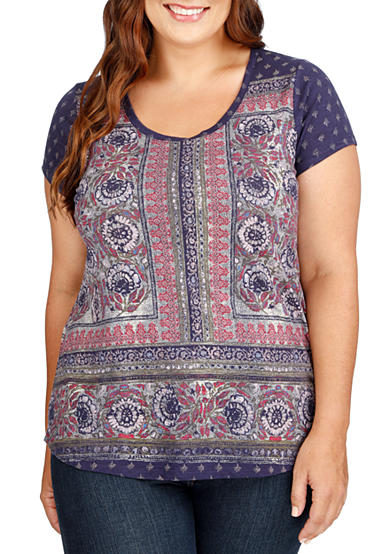 Lucky Brand Plus Size Painted Border Tee