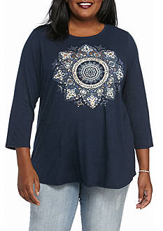 Lucky Brand Plus Size Gold Mandala Three-Quarter Sleeves Tee