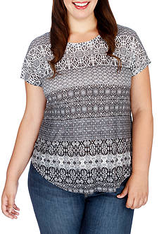 Lucky Brand Plus Size Ditzy Floral Print Tee
