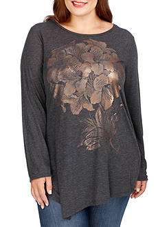 Lucky Brand Plus Size Printed Graphic Long Sleeve Tee