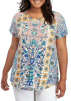 Lucky Brand Plus Size Geo Printed Tee