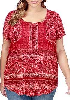 Lucky Brand Plus Size Border Floral Tee