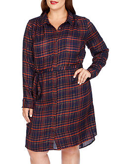 Lucky Brand Plus Siz Bungalow Plaid Dress