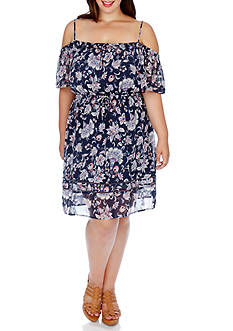 Lucky Brand Plus Size Floral Printed Cold Shoulder Dress