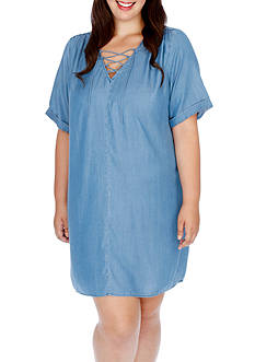 Lucky Brand Plus Size Lace Up Shirt Dress
