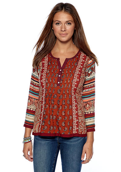 Lucky Brand Annabeth Mixed Print Pintuck Blouse