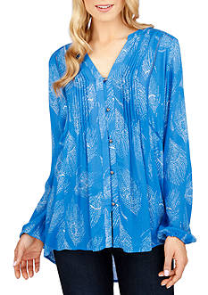 Lucky Brand Feather Print Blouse