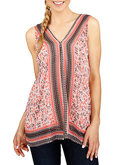 Lucky Brand Printed Border Top
