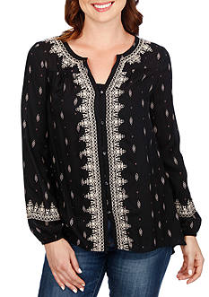 Lucky Brand Ditsy Embroidered Top