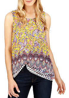 Lucky Brand Printed Shell Sleeveless Top