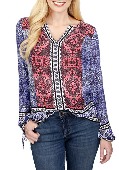 Lucky Brand Bordered Long Sleeve Top