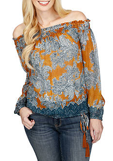 Lucky Brand Printed Multi Function Top