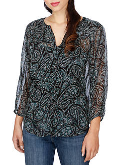 Lucky Brand Black Paisley Peasant