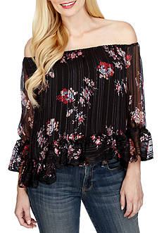 Lucky Brand Off The Shoulder Floral Peasant Top