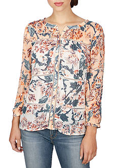 Lucky Brand Mix Print Floral Top