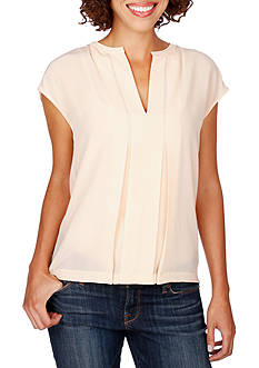 Lucky Brand Split Neck Silk Short Sleeve Blouse