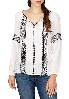 Lucky Brand Embroidered Peasant Top with Tassels