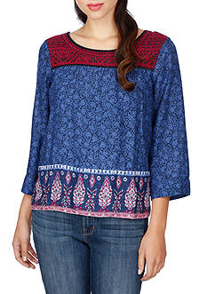 Lucky Brand Embroidered Border Print Peasant