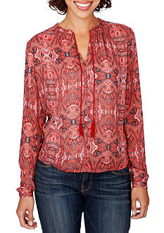 Lucky Brand Hi-Low Printed Blouse