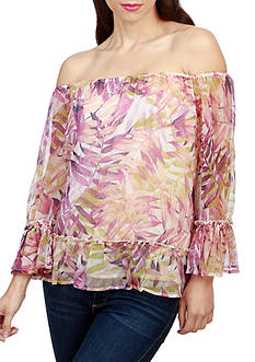 Lucky Brand Palm Print Off Shoulder Top