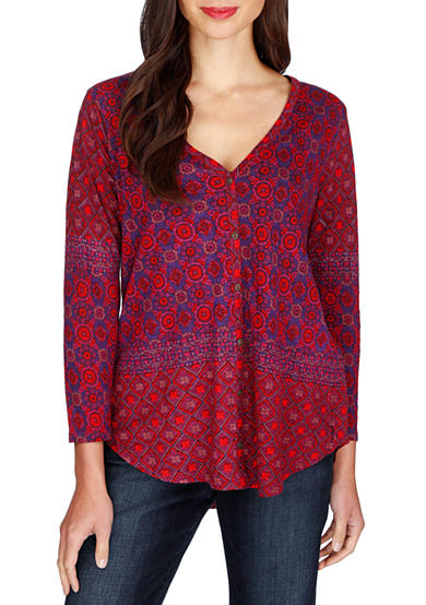 Lucky Brand Placed Print Top