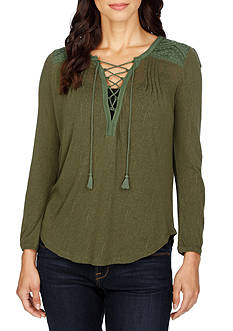 Lucky Brand Lace Front Peasant Top