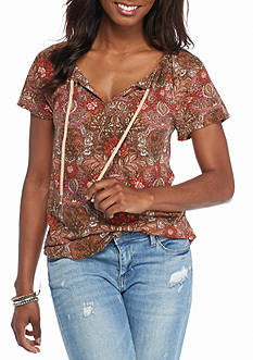 Lucky Brand Woven Mixed Printed Top