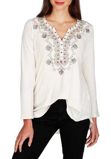 Lucky Brand Embellished Bib Top