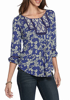 Lucky Brand Floral Bib Top with Detailed Neck