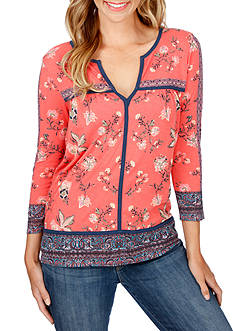 Lucky Brand Floral Border Knit Top