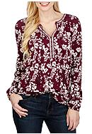 Lucky Brand Mixed Peasant Top