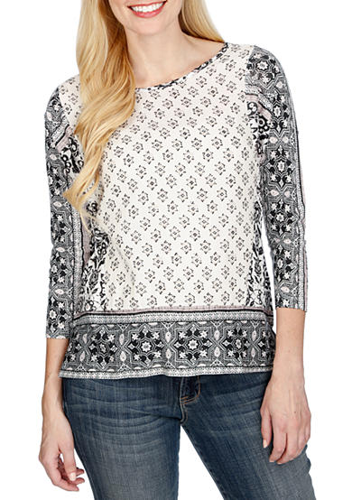 Lucky Brand Border Print Knit Top