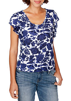 Lucky Brand Floral Flutter Sleeves Top