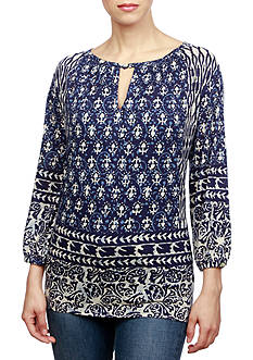 Lucky Brand Shibori Printed Knit Top