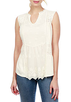 Lucky Brand Washed Woven Mix Shell Top