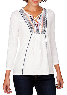 Lucky Brand Embroidered Lace up Top