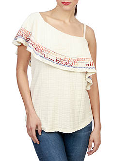Lucky Brand Embroidered One Shoulder Top