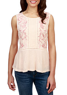 Lucky Brand Embroidered Mixed Shell Top