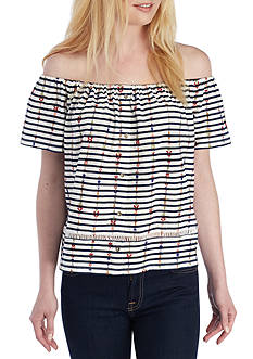 Lucky Brand Striped Off- the-Shoulder Top